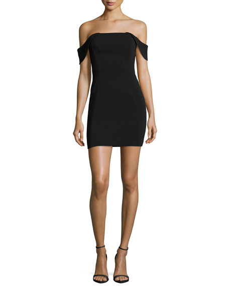 Jay Godfrey Lang Off-the-Shoulder Mini Cocktail Dress, Black
