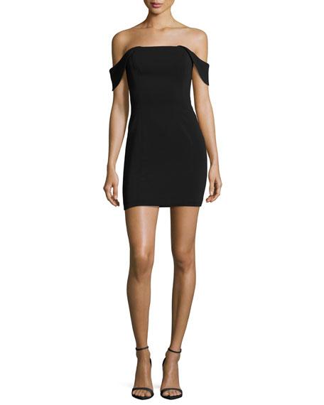 Jay Godfrey Lang Off-the-Shoulder Mini Cocktail Dress, Black