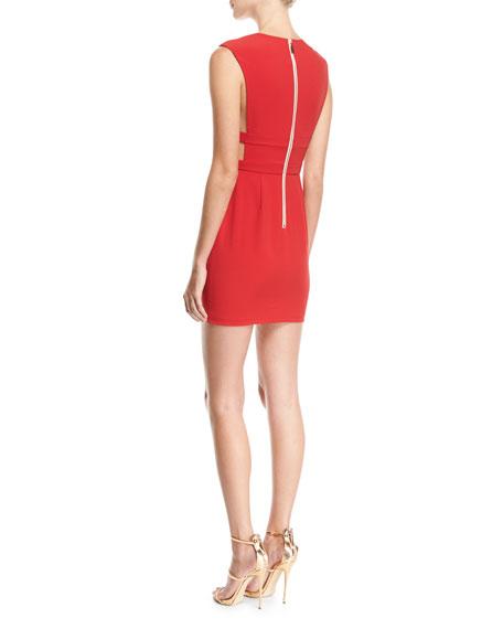 Redding Banded Deep-V Cocktail Minidress, Red