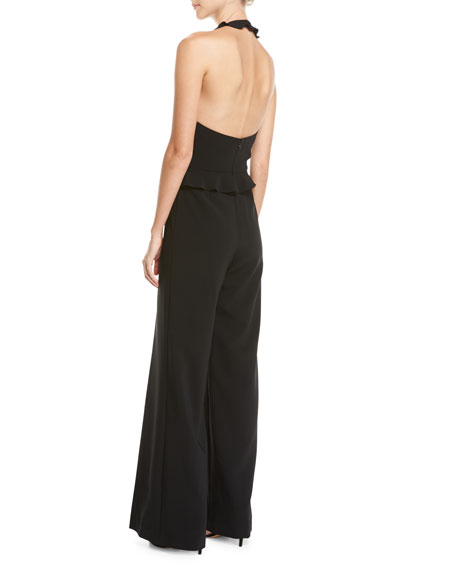 Rainey Wide-Leg Ruffle-Trim Jumpsuit, Black