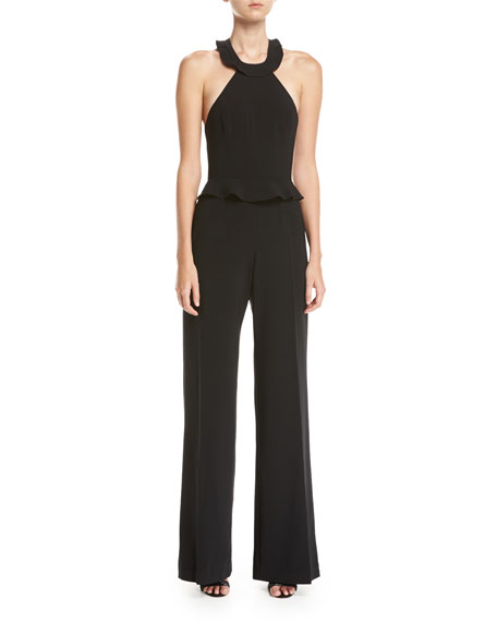 Jay Godfrey Rainey Wide-Leg Ruffle-Trim Jumpsuit, Black
