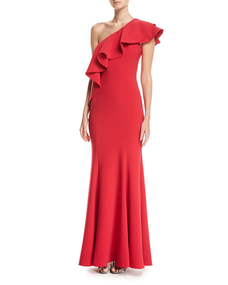 Jay Godfrey Taj One-Shoulder Mermaid Gown, Red