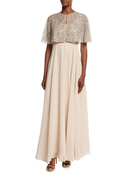 Aidan Mattox Beaded Embellished Chiffon Gown w/ Cape