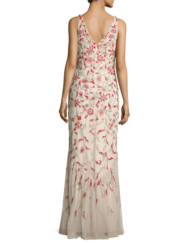 Aidan Mattox Floral Beaded Sleeveless V-Neck Gown | Neiman Marcus