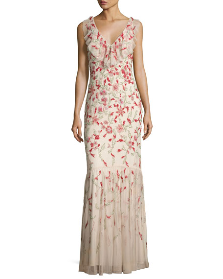 Aidan Mattox Floral Beaded Sleeveless V-Neck Gown