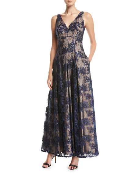 Aidan Mattox Sleeveless V-Neck Pleated Lace Evening Gown