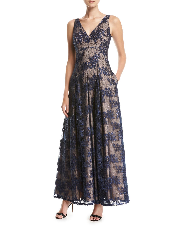 Aidan Mattox Sleeveless V-Neck Pleated Lace Evening Gown   Neiman Marcus
