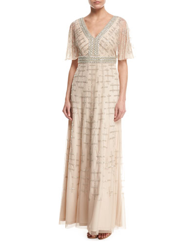 Short-Sleeve V-Neck Beaded Chiffon Gown