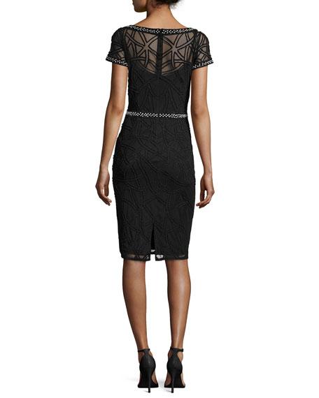 Short-Sleeve Boat-Neck Beaded Sheath Dress, Black