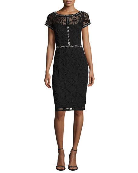 Aidan Mattox Short-Sleeve Boat-Neck Beaded Sheath Dress, Black