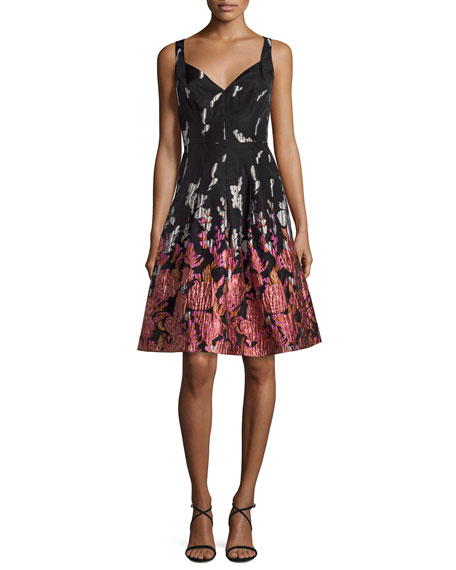 Aidan Mattox Brocade Printed V-Neck Cocktail Dress