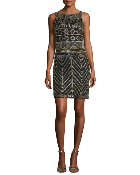 Aidan Mattox Sleeveless Geometric Beaded Sheath Dress