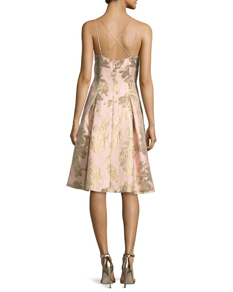Brocade Metallic Strappy-Back Cocktail Dress
