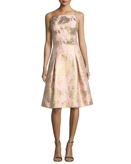 Aidan Mattox Brocade Metallic Strappy-Back Cocktail Dress
