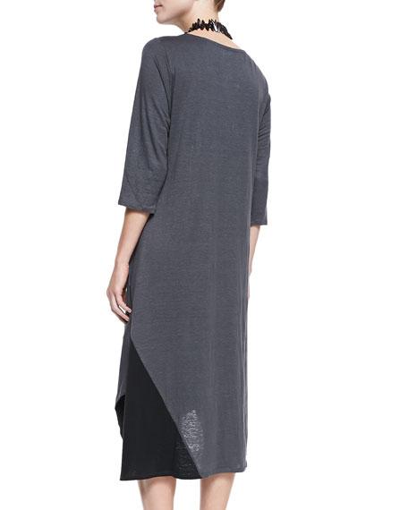 3/4 Sleeve Colorblock V-Neck Jersey Dress, Plus Size
