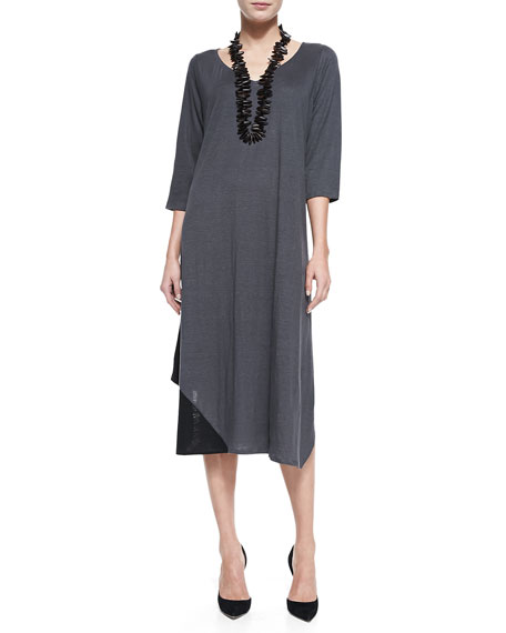 Eileen Fisher 3/4 Sleeve Colorblock V-Neck Jersey Dress,