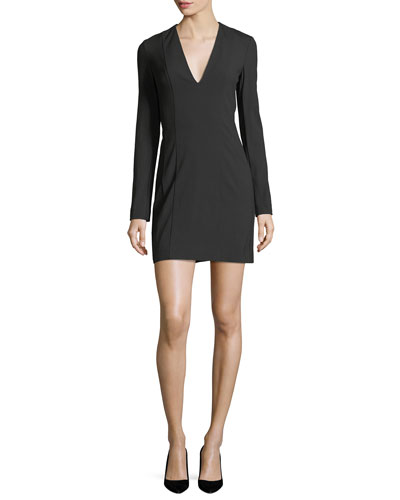 Bi-Stretch Deep-V Long-Sleeve Crepe Mini Dress