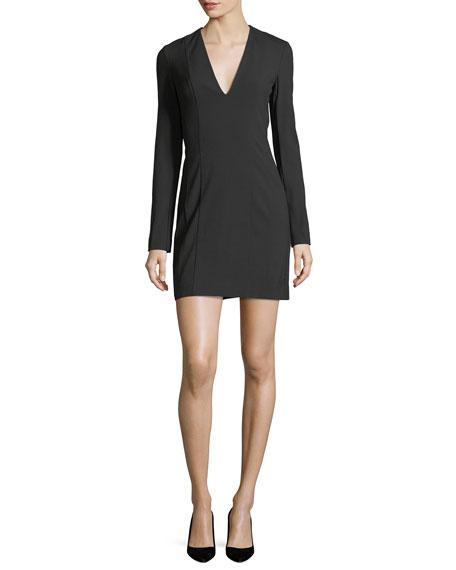 Bi-Stretch Deep-V Long-Sleeve Crepe Mini Dress