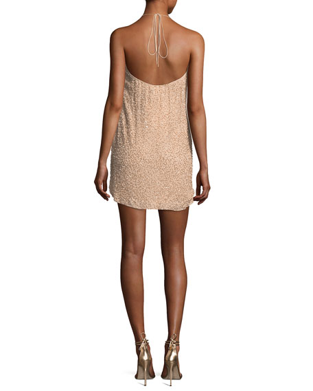 Krystal Embellished Halter Mini Cocktail Dress