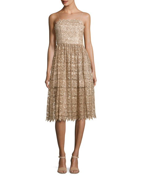 Alice + Olivia Alma Embellished Mid-Length Lace Party