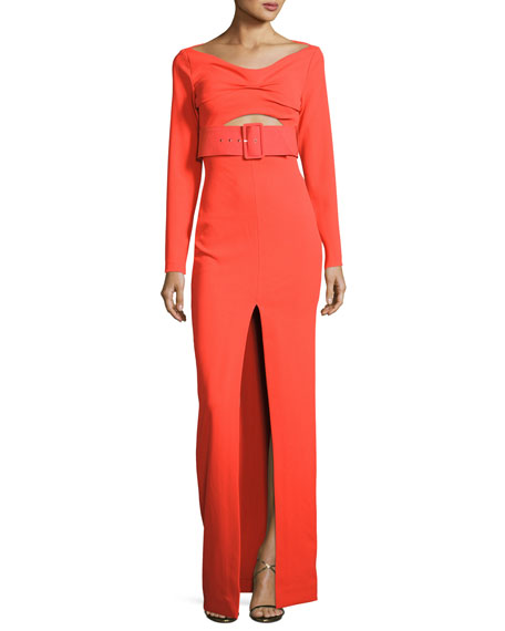 Adalene Long-Sleeve Belted Maxi Dress, Red