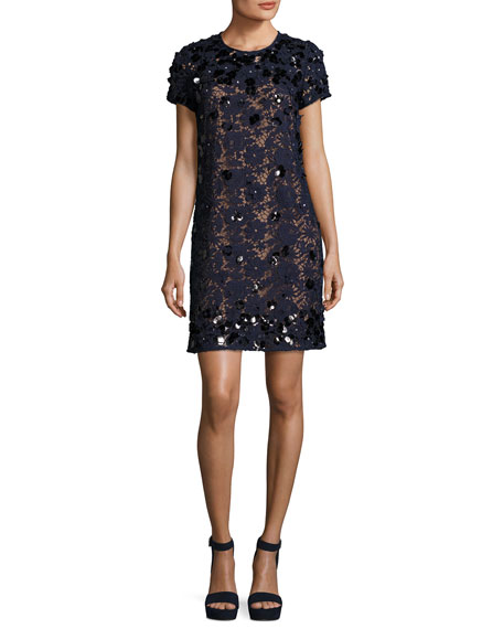 Short-Sleeve Embellished Lace Shift Dress