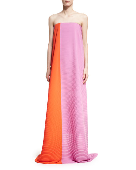 Solace London Alette Strapless Textured Maxi Dress
