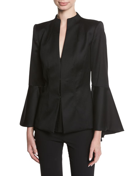 Alice + Olivia Ivana Mock-Neck Waterfall-Sleeve Wool Blazer