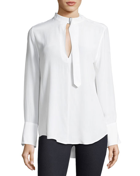 Equipment Janelle Collared Long-Sleeve Silk Blouse
