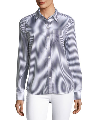 Brett Striped Button-Front Embroidered Shirt