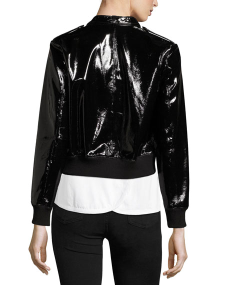 Nixon Mock-Collar Patent Leather Jacket