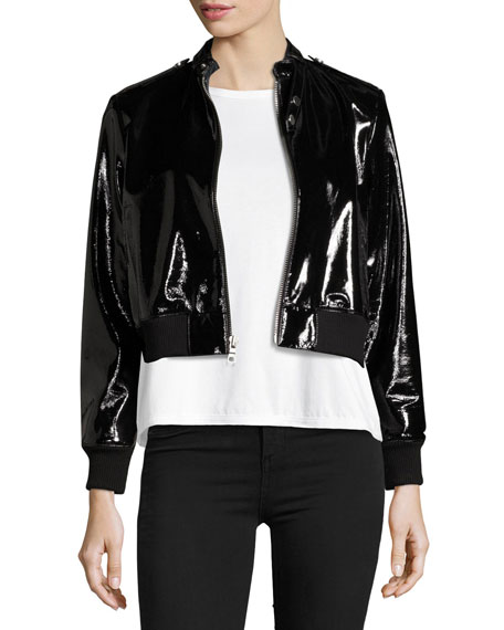 Alice + Olivia Nixon Mock-Collar Patent Leather Jacket