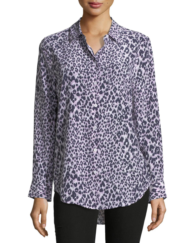 cd299f0a03934 Equipment Essential Long-Sleeve Leopard-Print Silk Blouse