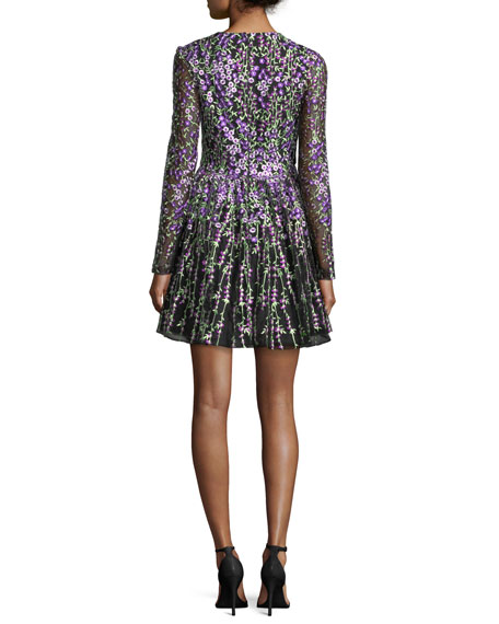 Long-Sleeve Floral-Embroidered Cocktail Dress