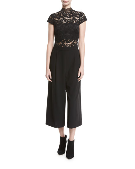 Alice + Olivia Elysia Lace Pleated Gaucho Jumpsuit