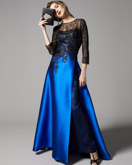 Satin Evening Gown w/ Beaded Lace Bodice