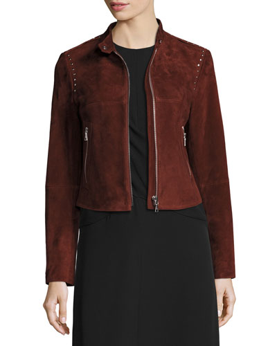 Bavewick SM Wilmore Studded Suede Jacket, Chili