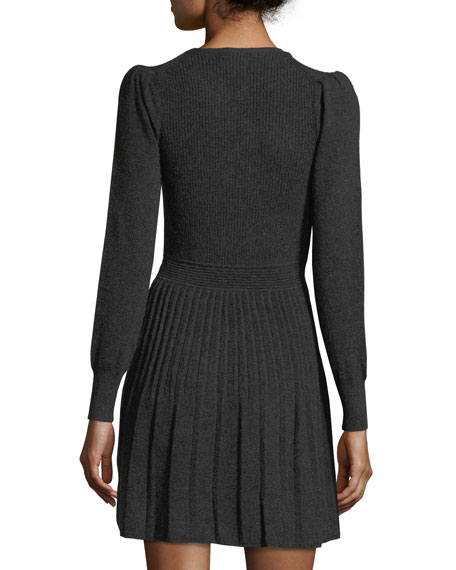 Peronne B Crewneck Long-Sleeve Wool-Cashmere Dress