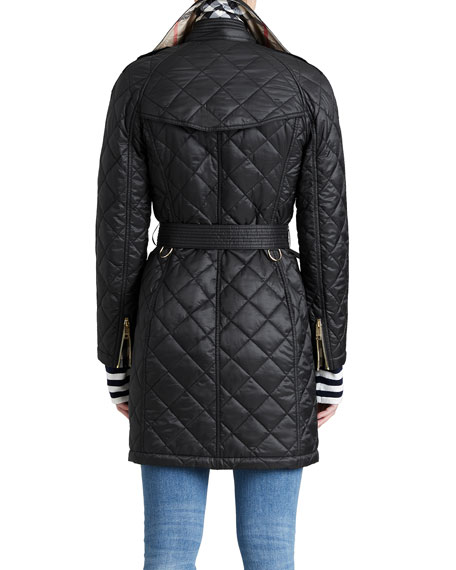 Burberry Baughton Quilted Belted Parka Jacket, Black : quilted parka jacket - Adamdwight.com