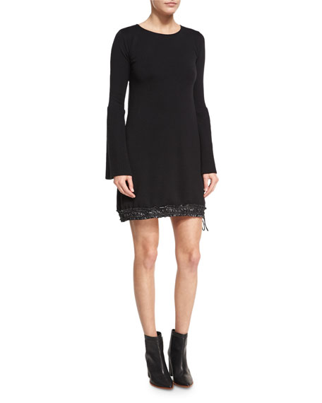 Moncler Long-Sleeve Sweater Dress W/ Drawstring Hem, Black