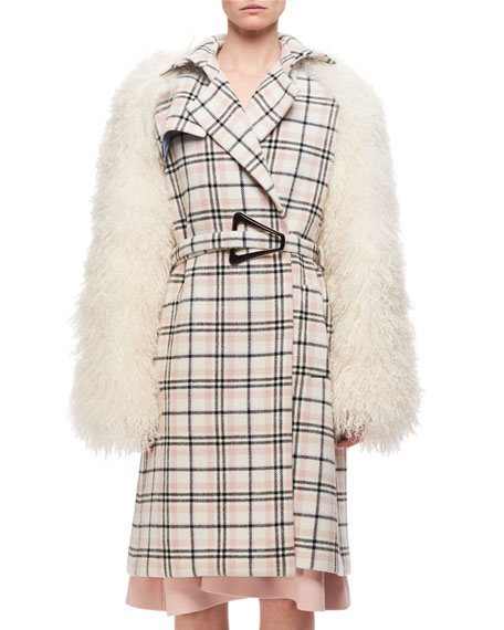 Carven Plaid Belted Top Coat W/ Fur Sleeves,