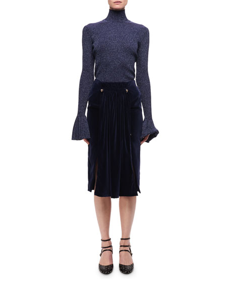 Pleated Velvet Midi Skirt W/ Studs, Navy