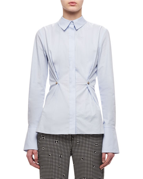Carven Button-Front Oxford Shirt W/ Stud, Light Blue