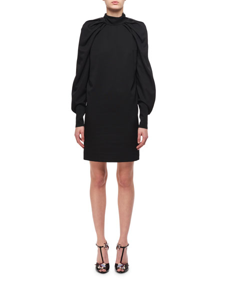 Draped Blouson-Sleeves Sheath Dress, Black