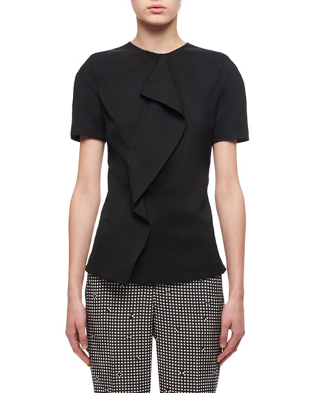 Carven High-Neck Short-Sleeve Ruffled Top