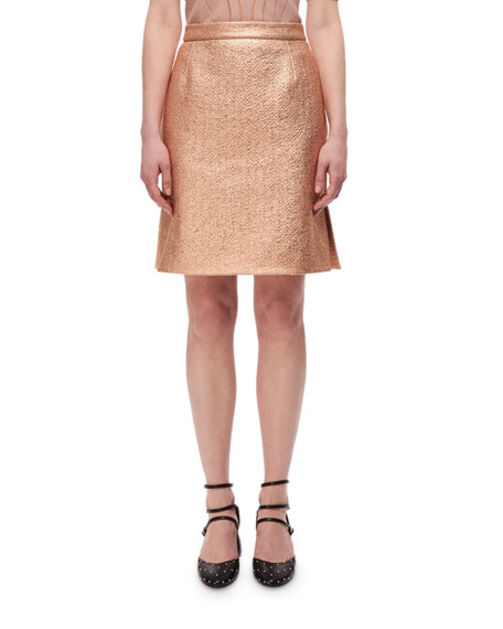 Carven Metallic High-Rise Straight Skirt, Copper
