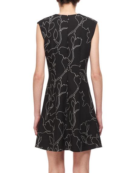 Jewel-Neck Floral-Print Studded Mini Dress, Black