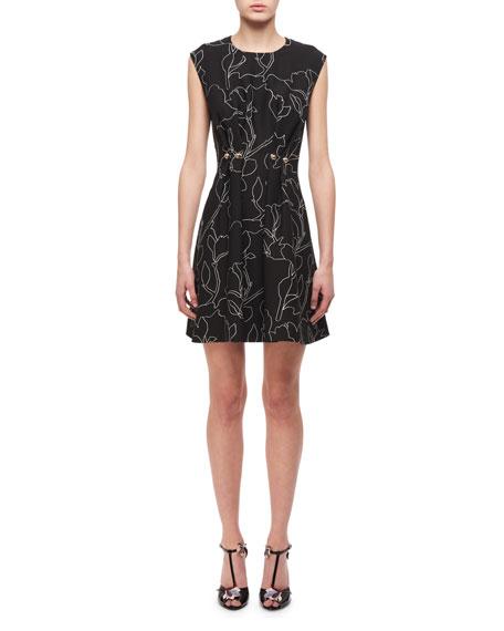 Carven Jewel-Neck Floral-Print Studded Mini Dress, Black