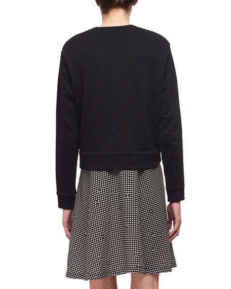 Fleece & Gingham-Printed Crepe Dress, Black