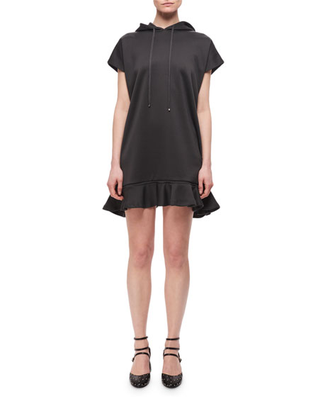 Carven Technical Jersey Hooded Ruffled Dress, Gray